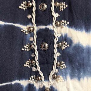 Bandolino Tops - Navy/White Tie-Dye Top w/Beaded Neckline